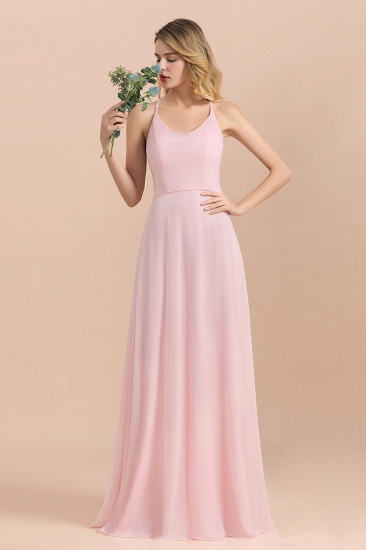 Chic Spaghetti Straps Chiffon Pink Bridesmaid Dresses with Crisscross Back