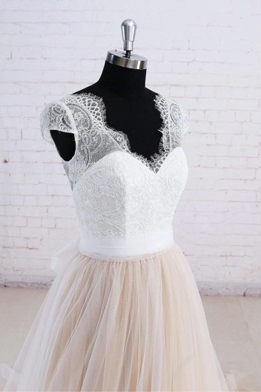 Affordable Shortsleeves Straps V-neck Wedding Dress Tulle Ruffles Bridal Gowns On Sale_4