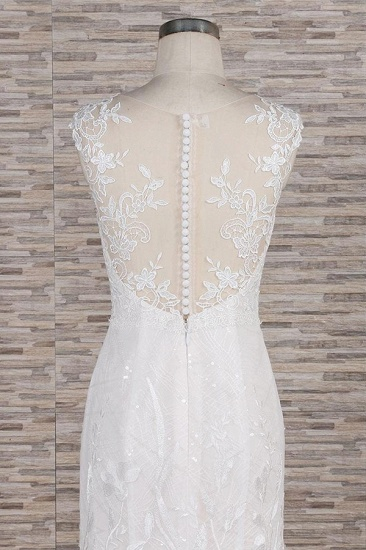 BMbridal Gorgeous Sleeveless Straps Lace Wedding Dresses Jewel Straps Mermaid Bridal Gowns With Appliques On Sale_6