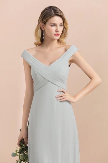 Modest Off-the-Shoulder Mist Chiffon Bridesmaid Dresses with Pleats_9