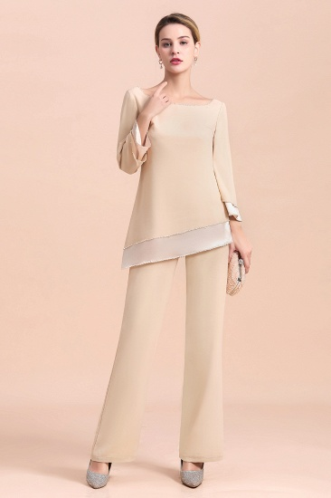 BMbridal Chic Round-Neck Champagne Chiffon Mother of Bride Jumpsuit Online_8