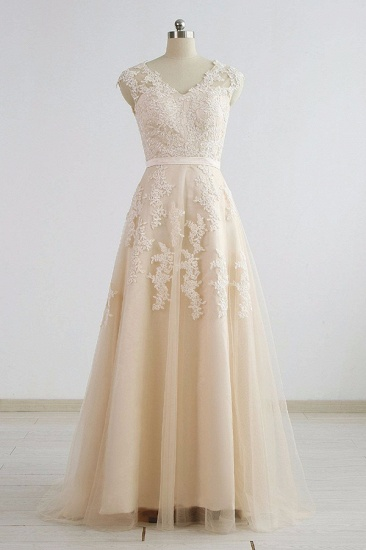 BMbridal Stylish Straps Sleeveless Champagne Wedding Dresses A-line Lace Bridal Gowns Online_1