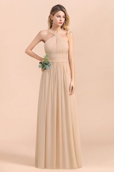 Gorgeous Straps Sleeveless Champagne Chiffon Affordable Bridesmaid Dresses Online with Ruffle_4