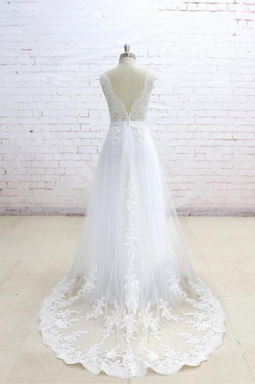 Stylish Sleeveless Straps V-neck Wedding Dresses White A-line Tulle Bridal Gowns With Appliques On Sale_3