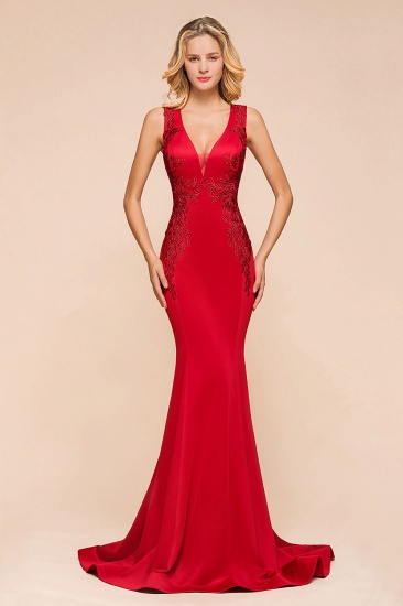 Gorgeous Red Mermaid V-Neck Prom Dress Long With Lace Appliques Online_1