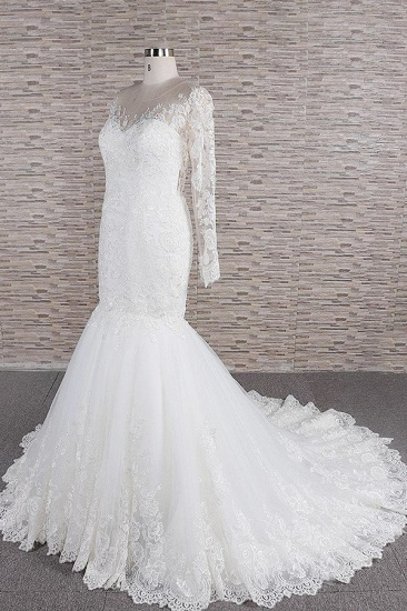 BMbridal Modest Longsleeves jewel Mermaid Wedding Dresses White Tulle Lace Bridal Gowns With Appliques Online_4