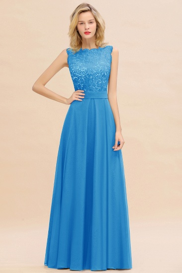 Exquisite Scoop Chiffon Lace Bridesmaid Dresses with V-Back_25