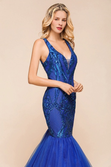 Gorgeous Royal Blue Mermaid Prom Dress Long Sequins Evening Party Gowns Online_5