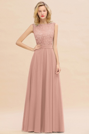 Exquisite Scoop Chiffon Lace Bridesmaid Dresses with V-Back_6