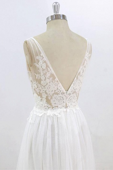 BMbridal Sexy V-neck Sleeveless Straps Wedding Dresses White Tulle Ruffles Lace Bridal Gowns Online_7