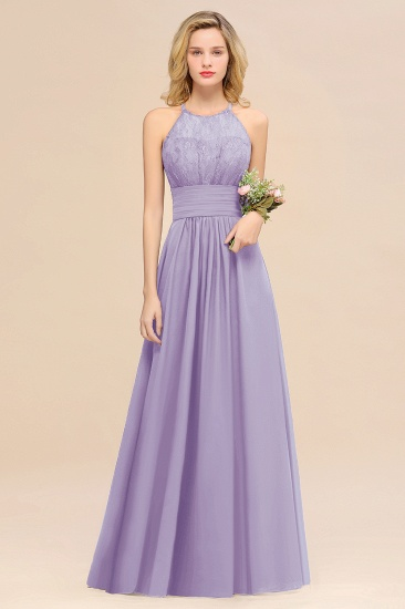 Elegant Halter Ruffles Sleeveless Grape Lace Bridesmaid Dresses Cheap_21