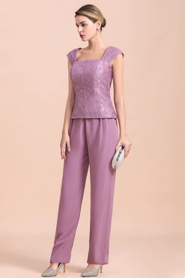 Elegant Cap-Sleeves Lace Chiffon Affordable Mother of Bride Jumpsuit Online with Wrap_9