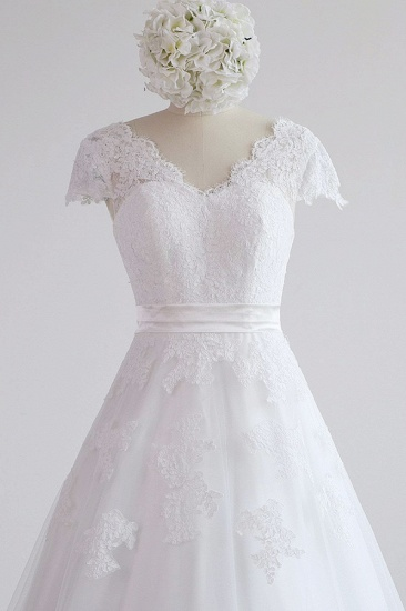 Glamorous Shortsleeves V-neck Lace Wedding Dresses White A-line Tulle Bridal Gowns With Appliques On Sale_5