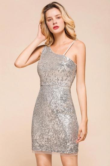 Gorgeous One Shoulder Sequins Short Prom Dress Online_4