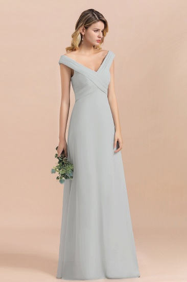 Modest Off-the-Shoulder Mist Chiffon Bridesmaid Dresses with Pleats_5