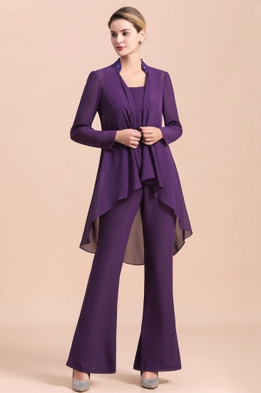 Affordable Straps Beading Grape Chiffon Mother of Bride Jumpsuit Online with Wrap_7