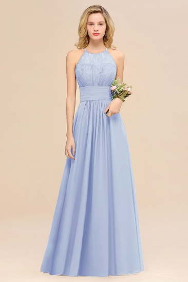 Elegant Halter Ruffles Sleeveless Grape Lace Bridesmaid Dresses Cheap_22