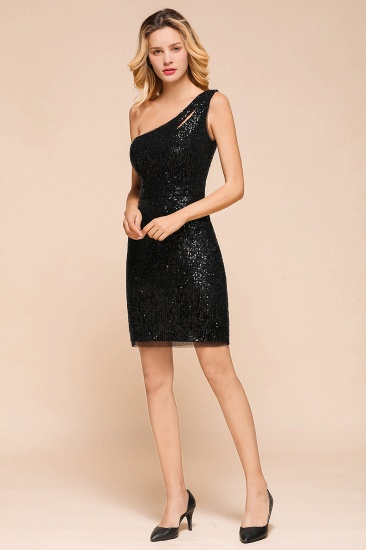 BMbridal Sexy Black Sequins Short Prom Dress One Shoulder Homecoming Dress_5
