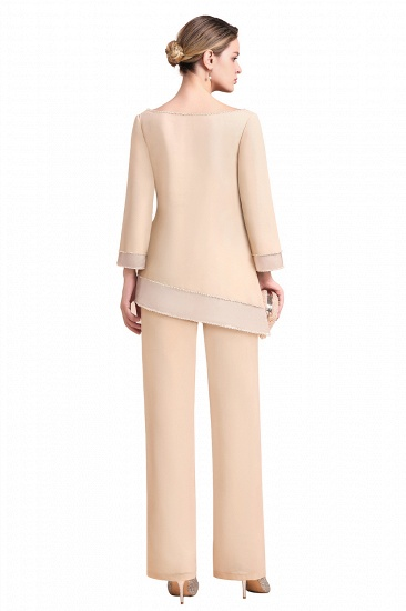BMbridal Chic Round-Neck Champagne Chiffon Mother of Bride Jumpsuit Online_9