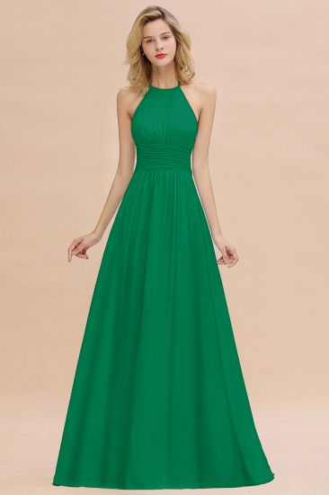 Glamorous Halter Backless Long Affordable Bridesmaid Dresses with Ruffle_49