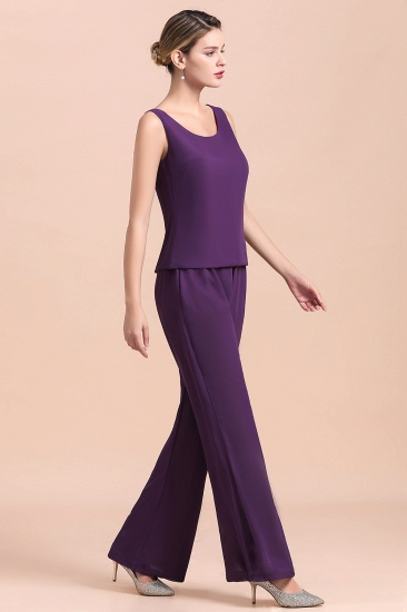 Affordable Straps Beading Grape Chiffon Mother of Bride Jumpsuit Online with Wrap_10