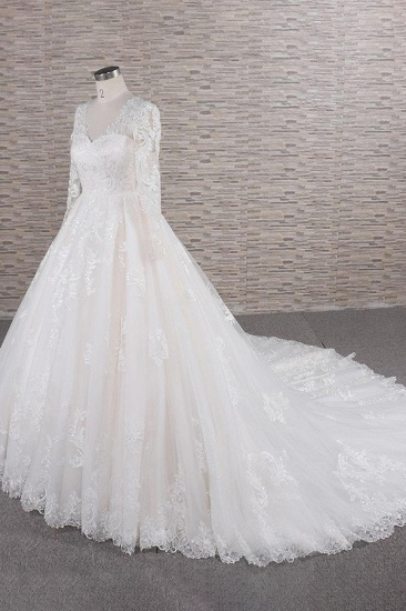 Elegant V-neck Longsleeves Lace Wedding Dresses A-line Tulle Bridal Gowns With Appliques Online_4