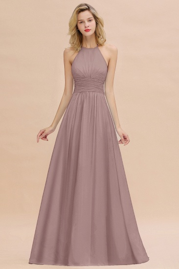 Glamorous Halter Backless Long Affordable Bridesmaid Dresses with Ruffle_37