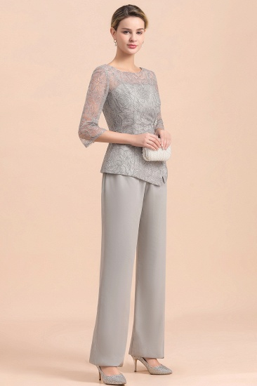 Elegant 3/4 Sleeves Lace Chiffon Affordable Mother of Bride Jumpsuit Online_7