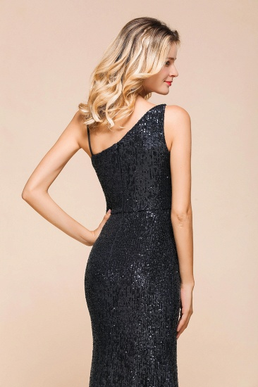 Navy One Shoulder Sequins Prom Dress Long Mermaid Evening Gowns With Split_7