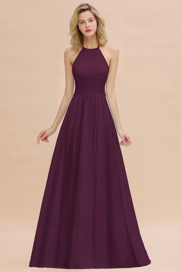 Glamorous Halter Backless Long Affordable Bridesmaid Dresses with Ruffle_20