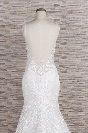 BMbridal Gorgeous Spaghetti Straps Mermaid Wedding Dresses With Appliques Ivory Sleeveless Bridal Gowns Online_7