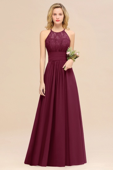 Elegant Halter Ruffles Sleeveless Grape Lace Bridesmaid Dresses Cheap_44