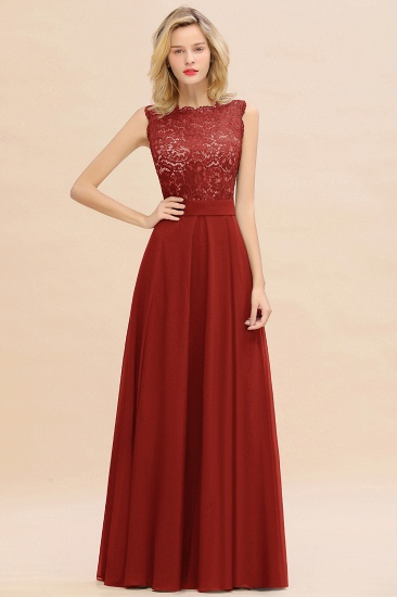 Exquisite Scoop Chiffon Lace Bridesmaid Dresses with V-Back_48