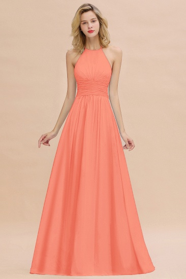 Glamorous Halter Backless Long Affordable Bridesmaid Dresses with Ruffle_45