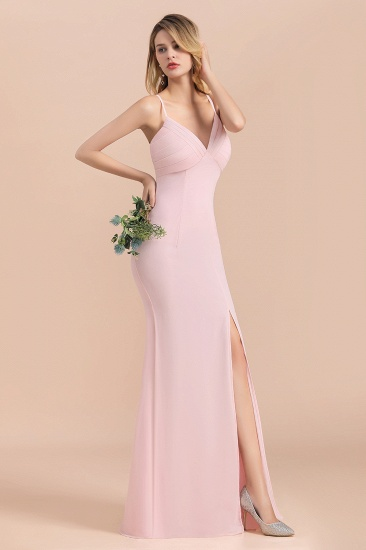 Affordable Sheath V-Neck Blushing Pink Chiffon Bridesmaid Dress with Spaghetii Straps_8