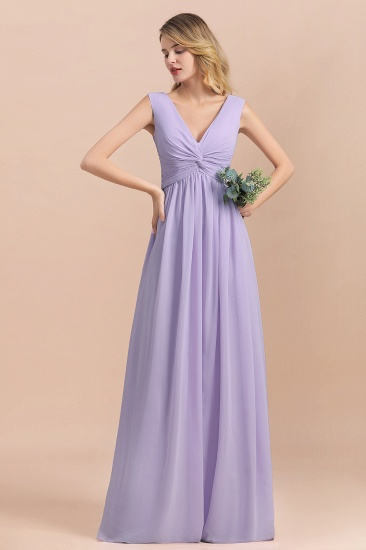 Gorgeous V-Neck Ruffle Lilac Chiffon Affordable Bridesmaid Dress with Ruffle_6