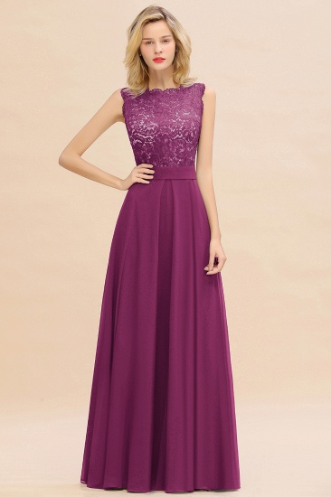 Exquisite Scoop Chiffon Lace Bridesmaid Dresses with V-Back_42