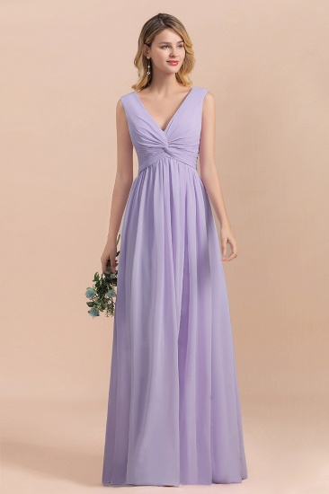 Gorgeous V-Neck Ruffle Lilac Chiffon Affordable Bridesmaid Dress with Ruffle_4
