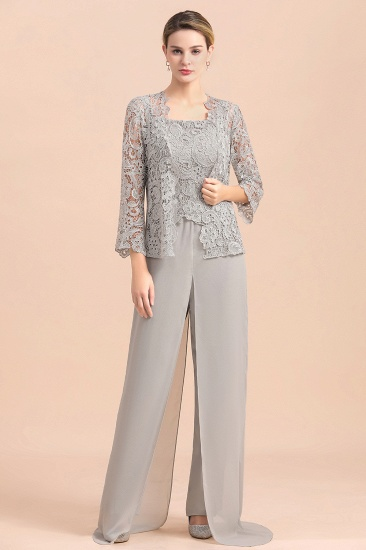 BMbridal Elegant Silver Lace Top Chiffon Mother of Bride Jumpsuit Online with Wrap_1