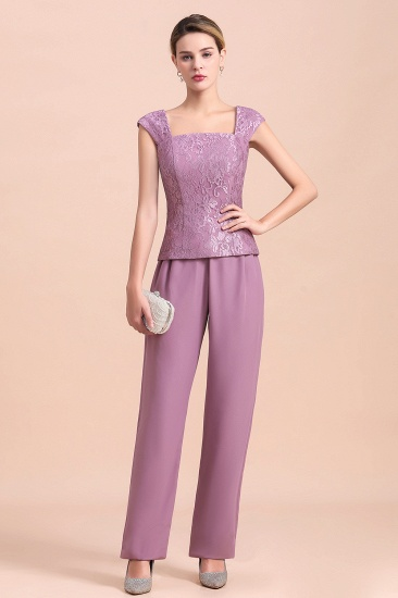 Elegant Cap-Sleeves Lace Chiffon Affordable Mother of Bride Jumpsuit Online with Wrap_7