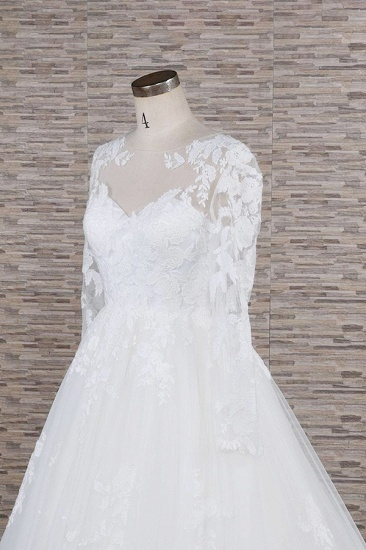 Modest Jewel Longsleeves A-line Wedding Dresses White Tulle Lace Bridal Gowns With Appliques On Sale_6