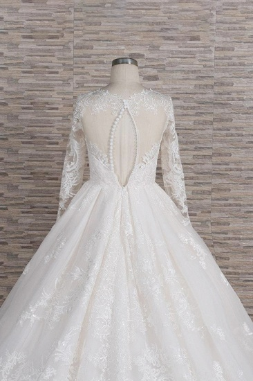Elegant V-neck Longsleeves Lace Wedding Dresses A-line Tulle Bridal Gowns With Appliques Online_7
