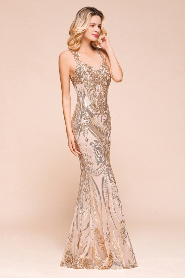 BMbridal Gorgeous Champagne Sequins Mermaid Prom Dress Long Evening Gowns Online_5