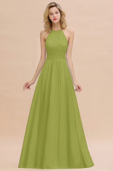 Glamorous Halter Backless Long Affordable Bridesmaid Dresses with Ruffle_34
