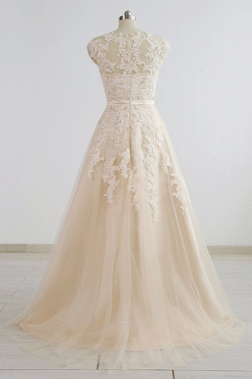 BMbridal Stylish Straps Sleeveless Champagne Wedding Dresses A-line Lace Bridal Gowns Online_3