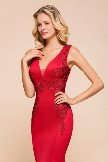 Gorgeous Red Mermaid V-Neck Prom Dress Long With Lace Appliques Online_8