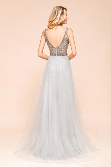 Charming V-Neck Tulle Long Prom Dress With Crystals On Sale_3
