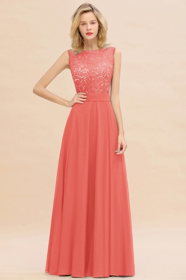 Exquisite Scoop Chiffon Lace Bridesmaid Dresses with V-Back_7