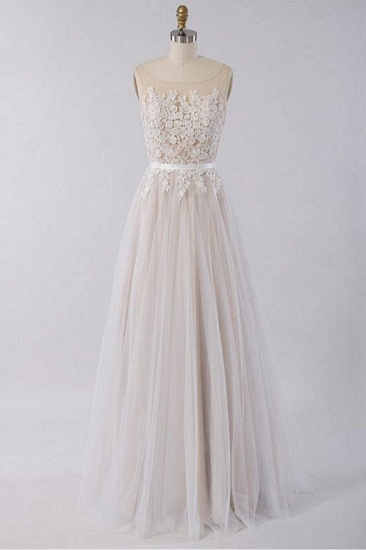 BMbridal Gorgeous Sleeveless Straps Jewel Wedding Dresses A-line Tulle Ruffles Bridal Gowns On Sale_1