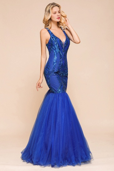 Gorgeous Royal Blue Mermaid Prom Dress Long Sequins Evening Party Gowns Online_7